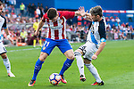Atletico de Madrid's player Kevin Gameiro and Deportivo de la Coruña's player Luisinho during a match of La Liga Santander at Vicente Calderon Stadium in Madrid. September 25, Spain. 2016. (ALTERPHOTOS/BorjaB.Hojas)