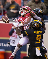 Hawgs Illustrated/BEN GOFF <br /> Treylon Burks, Arkansas wide receiver, tries to catch an incomplete pass under pressure from Tyree Gillespie, Missouri strong safety, and Christian Holmes, Missouri cornerback, in the fourth quarter Saturday, Nov. 29, 2019, at War Memorial Stadium in Little Rock.