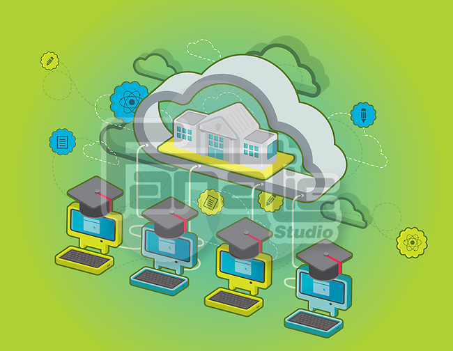 Illustration of computers with graduation caps linked to a school building depicting concept of e-learning