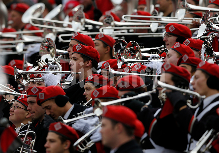 Members of the Ohio State University Marching Band perform during the first quarter of a NCAA college football game between the Ohio State Buckeyes and the Michigan State Spartans on Saturday, November 11, 2017 at Ohio Stadium in Columbus, Ohio. [Joshua A. Bickel/Dispatch]