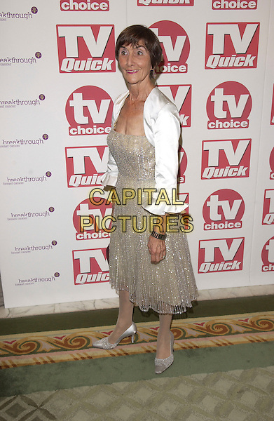 JUNE BROWN.Arriving at the TV Quick & TV Choice Awards,.Dorchester Hotel, Park Lane,.full length silver dress white jacket high heel shoes.London, 5th September 2005.www.capitalpictures.com.sales@capitalpictures.com.© Capital Pictures.