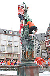 21 June 2006: Holland fans dress a statue in orange in the fountain in Frankfurt's town square. The Netherlands played Argentina at Commerzbank Arena in Frankfurt, Germany in match 37, a Group C first round game, of the 2006 FIFA World Cup.
