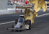 Feb 7, 2015; Pomona, CA, USA; NHRA top fuel driver Tony Schumacher during qualifying for the Winternationals at Auto Club Raceway at Pomona. Mandatory Credit: Mark J. Rebilas-USA TODAY Sports