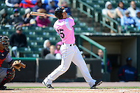 Rochester Red Wings outfielder Joe Benson #15 during a game against the Columbus Clippers on May 12, 2013 at Frontier Field in Rochester, New York.  Rochester defeated Columbus 5-4 wearing special pink jerseys for Mother's Day.  (Mike Janes/Four Seam Images)