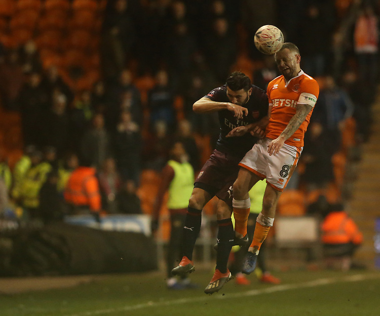 Blackpool's Jay Spearing and Arsenal's Sead Kolasinac<br /> <br /> Photographer Stephen White/CameraSport<br /> <br /> Emirates FA Cup Third Round - Blackpool v Arsenal - Saturday 5th January 2019 - Bloomfield Road - Blackpool<br />  <br /> World Copyright © 2019 CameraSport. All rights reserved. 43 Linden Ave. Countesthorpe. Leicester. England. LE8 5PG - Tel: +44 (0) 116 277 4147 - admin@camerasport.com - www.camerasport.com