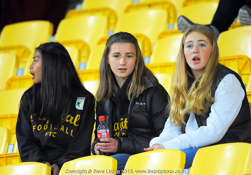Fans in the stand during the A-League football match between Wellington Phoenix and Adelaide United at Westpac Stadium, Wellington, New Zealand on Friday, 13 November 2015. Photo: Dave Lintott / lintottphoto.co.nz