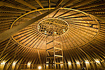 Lenox round barn interior loft at the Taylor County Museum, Iowa.