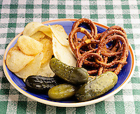 PRETZELS, PICKLES, POTATO CHIPS: HIGH SALT CONTENT<br />