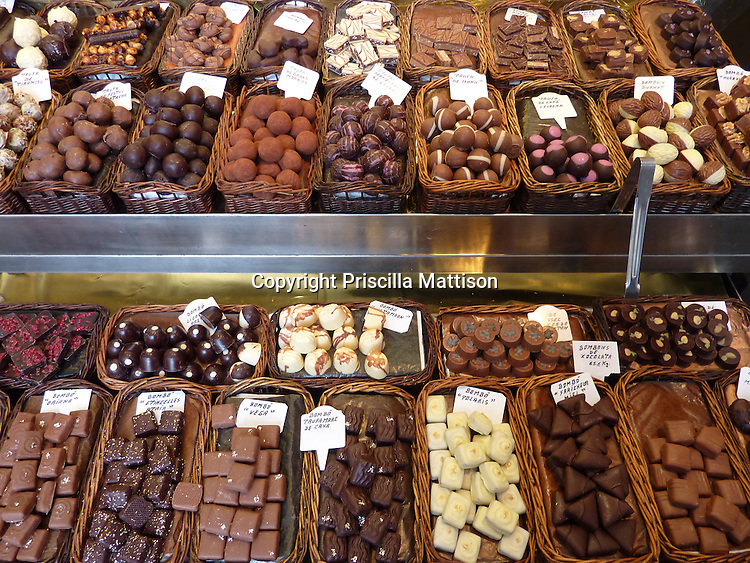 Barcelona, Spain - January 31, 2011:  Assorted chocolates are displayed in a candy stall.