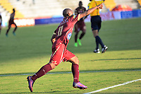 IBAGUÉ -COLOMBIA, 26-01-2016.  Jaminton Campaz jugador del Deportes Tolima celebra después de anotar un gol a Tigres FC durante partido por la fecha 11 de la Liga Águila I 2017 jugado en el estadio Manuel Murillo Toro de Ibagué. /  Jaminton Campaz player of Deportes Tolima celebrates after scoring a goal to Tigres FC during match for date 11 of the Aguila League I 2017 played at Manuel Murillo Toro stadium in Ibague city. Photo: VizzorImage / Juan Carlos Escobar / Cont