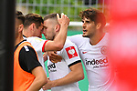11.08.2019, Carl-Benz-Stadion, Mannheim, GER, DFB Pokal, 1. Runde, SV Waldhof Mannheim vs. Eintracht Frankfurt, <br /> <br /> DFL REGULATIONS PROHIBIT ANY USE OF PHOTOGRAPHS AS IMAGE SEQUENCES AND/OR QUASI-VIDEO.<br /> <br /> im Bild: Ante Rebic (Eintracht Frankfurt #4) jubelt mit Goncalo Paciencia (Eintracht Frankfurt #39) und Dominik Kohr (Eintracht Frankfurt #28) ueber das Tor zum 3:4<br /> <br /> Foto © nordphoto / Fabisch