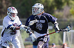 Los Angeles, CA 03/12/16 - Nick Williams (Utah State #98) and Jack Braniff (Loyola Marymount #5) in action during the Utah State vs Loyola Marymount MCLA Men's Division I game at Leavey Field at LMU.  Utah State defeated LMU 17-4.