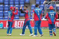 Rshid Khan (Afghanistan) celebrates the wicket of Kusal Perera (Sri Lanka) during Afghanistan vs Sri Lanka, ICC World Cup Cricket at Sophia Gardens Cardiff on 4th June 2019