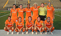 The starting eleven for Sky Blue.  The Philadelphia Independence scored three first half goals, and went on to win 4-1 over Sky Blue at John A Farrell Stadium in West Chester, Pennsylvania.