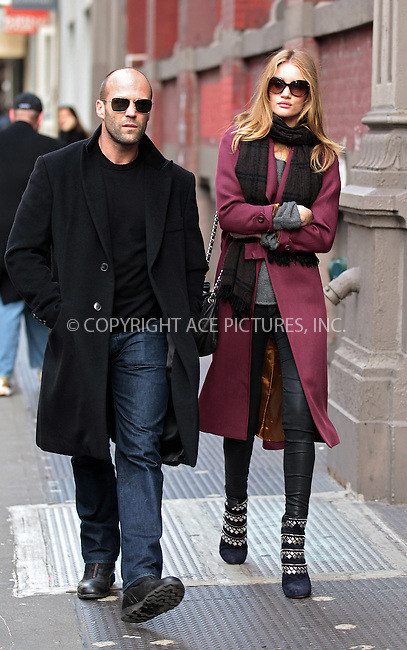 WWW.ACEPIXS.COM . . . . .  ....December 16 2011, New York City....Actors Jason Statham and Rosie Huntington-Whiteley went shopping and Intermix and then had a stroll around Soho on December 16 2011 in New York City....Please byline: John Peters - ACE PICTURES.... *** ***..Ace Pictures, Inc:  ..Philip Vaughan (212) 243-8787 or (646) 679 0430..e-mail: info@acepixs.com..web: http://www.acepixs.com