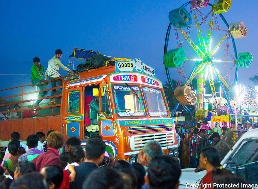 6 Sept 2016 - Tarnetar , INDIA.<br /> View of the Tarnetar Fair at Dusk.The Revellery &amp; Celebrations continue unabated for 3 full days &amp; nights here.<br /> <br /> Based on the legend of Draupadi's swayamvara, this fair is a celebration of ethnic Gujarat&Otilde;s folk-dance, music, costumes and the arts, centered around young tribal men and women seeking marriage partners. But even for those not interested in finding a spouse, the romance and excitement in the air are captivating, and every year the fair seems only to grow in popularity, attracting visitors and tourists from Gujarat, elsewhere in India, and even abroad.<br /> <br /> (Subhash Sharma for The National)