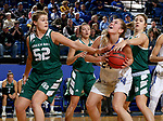 SIOUX FALLS, SD - NOVEMBER 29: Tagyn Larson #24 from South Dakota State looks to the basket against a pair of defenders including Madison Wolf #52 from Wisconsin Green Bay during their game Thursday night at Frost Arena in Brookings. (Photo by Dave Eggen/Inertia)