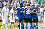 Saarbr&uuml;ckens Fabian Eisele (M) jubelt nach seinem 2:0 mit Alexandre Mendy (l.)  und Saarbr&uuml;ckens Manuel Zeitz beim Spiel in der Regionalliga Suedwest, 1. FC Saarbruecken - FK Pirmasens.<br /> <br /> Foto &copy; PIX-Sportfotos *** Foto ist honorarpflichtig! *** Auf Anfrage in hoeherer Qualitaet/Aufloesung. Belegexemplar erbeten. Veroeffentlichung ausschliesslich fuer journalistisch-publizistische Zwecke. For editorial use only.