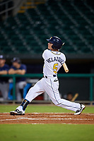 Montgomery Biscuits shortstop Andrew Velazquez (5) follows through on a swing during a game against the Mississippi Braves on April 24, 2017 at Montgomery Riverwalk Stadium in Montgomery, Alabama.  Montgomery defeated Mississippi 3-2.  (Mike Janes/Four Seam Images)