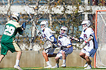 Los Angeles, CA 02/06/16 - Tucker Reed (Cal Poly #29), Paul Naimo (Loyola Marymount #31), Jackson Myers (Loyola Marymount #12) and Del Smith (Loyola Marymount #21)in action during the Cal Poly SLO Mustangs vs Loyola Marymount Lions MCLA Men's Lacrosse game.  Cal Poly defeated LMU 24-5
