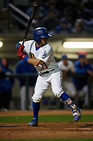Rancho Cucamonga Quakes catcher Connor Wong (33) at bat during a California League game against the Lake Elsinore Storm at LoanMart Field on May 19, 2018 in Rancho Cucamonga, California. Lake Elsinore defeated Rancho Cucamonga 10-7. (Zachary Lucy/Four Seam Images)