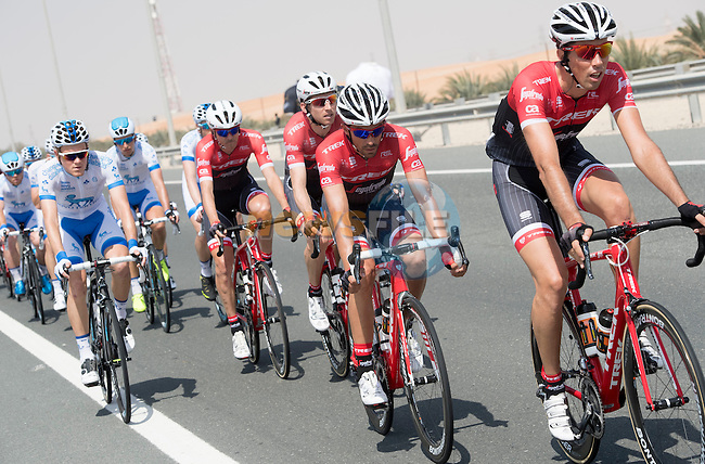 The peloton including Alberto Contador (ESP) Trek-Segafredo in action during Stage 1 Emirates Motor Company Stage of the 2017 Abu Dhabi Tour, running 189km from Madinat Zayed through the desert and back to Madinat Zayed, Abu Dhabi. 23rd February 2017<br /> Picture: ANSA/Claudio Peri | Newsfile<br /> <br /> <br /> All photos usage must carry mandatory copyright credit (&copy; Newsfile | ANSA)