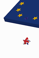 Union Jack star falling from European Union flag