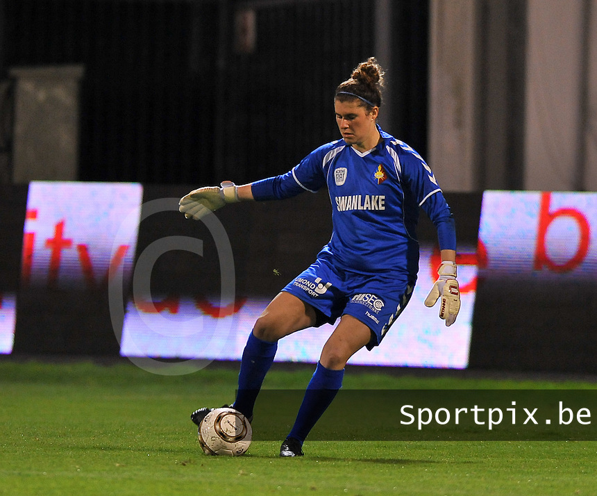 20131018 - ANTWERP , BELGIUM :  Telstar Mairav Shamir pictured during the female soccer match between Royal Antwerp FC Ladies and Telstar Vrouwen Ijmuiden , of the Eight' matchday in the BENELEAGUE competition. Friday 18 October 2013. PHOTO DAVID CATRY