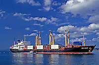 Cargo Ship, Panama Canal, Tug Boat, Blue Sky, large, container ship, daylight passage, Panama Canal