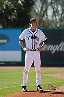 University of Virginia Cavaliers pitcher Daniel Lynch (9) in the bullpen before a game against the Liberty University Flames at Joseph P. Riley Ballpark on February 17, 2017 in Charleston, South Carolina. Virginia defeated Liberty 10-2. (Robert Gurganus/Four Seam Images)