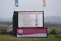 Scoreboard showing European players taking control during Round Three of The Tshwane Open 2014 at the Els (Copperleaf) Golf Club, City of Tshwane, Pretoria, South Africa. Picture:  David Lloyd / www.golffile.ie
