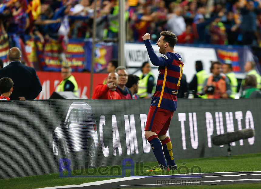 FC Barcelona´s Argentinean forward Lionel Messi celebrating during the Final of Copa del Rey match between FC Barcelona and SevillaFC at the Vicente Calderon Stadium in Madrid, Sunday, May 22, 2016.