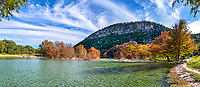 Fall at Garner Panorama - Texas landscape canvas and prints - Garner state Park in the Texas hill country is a favorite place to visit in the fall if you catch it right you can see a little color in the trees. Its a fine dance to catch it just right here depending on the summer the maples will drop their leaves early some years. This year we were able to catch them just in the nick of time. You can still see all the fall color in the trees as the frio river flows over the dam and rocks behind as the water continues downstream toward Old Baldy.  Old Baldy is a favorite landmark for the area and climbing it is a must if your up to it.