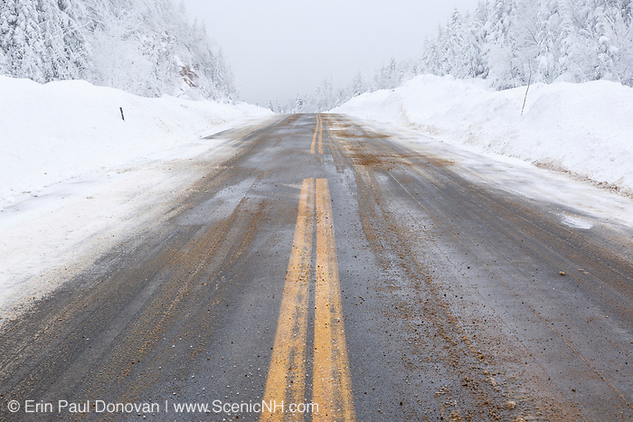 Kancamagus Pass along the Kancamagus Highway (route 112) in the White Mountains, New Hampshire USA after a snow storm. The Kancamagus Highway is one of New England's scenic byways.