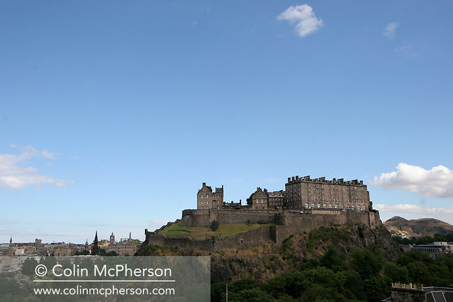 Edinburgh Castle dominates the city centre, as seen from the west of the city..