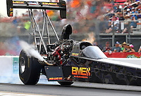 Apr 29, 2016; Baytown, TX, USA; NHRA top fuel driver Troy Buff during qualifying for the Spring Nationals at Royal Purple Raceway. Mandatory Credit: Mark J. Rebilas-USA TODAY Sports