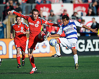 11 April 2009:  Toronto FC midfielder Jim Brennan #11 and FC Dallas midfielder David Ferreira #10 in action during an MLS game at BMO Field in Toronto between FC Dallas and Toronto FC. The game ended in a 1-1 draw.