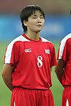 09 August 2008: Kil Son Hui (PRK).  The women's Olympic soccer team of Brazil defeated the women's Olympic soccer team of North Korea 2-1 at Shenyang Olympic Sports Center Wulihe Stadium in Shenyang, China in a Group F round-robin match in the Women's Olympic Football competition.