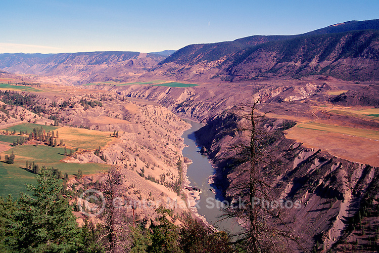 Cariboo Chilcotin Coast Region, BC, British Columbia, Canada - Farmland on Benchland Plateau, Coast Mountains along Fraser River and Fraser Canyon