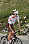 Polka Dot Jersey Romain Bardet (FRA) AG2R La Mondiale climbs the Col d'Iseran during Stage 19 of the 2019 Tour de France originally running 126.5km from Saint-Jean-de-Maurienne to Tignes but cut short to 88.5 km, France. 26th July 2019.<br /> Picture: John Pierce/PhotoSport Int | Cyclefile<br /> All photos usage must carry mandatory copyright credit (© Cyclefile | John Pierce/PhotoSport Int)