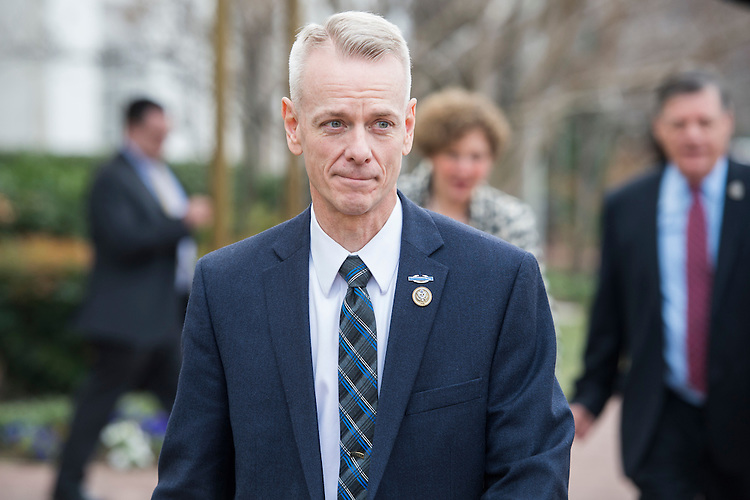 UNITED STATES - FEBRUARY 07: Rep. Steve Russell, R-Okla., leaves the Capitol Hill Club after a meeting of the House Republican Conference, February 7, 2017. (Photo By Tom Williams/CQ Roll Call)