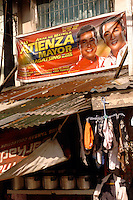 A poster of the former Mayor, Jose Atienza's son, in slum area of Manila called San Anreas Bukid (neighbour-hood) where families commonly have between 6- 12 children. There is no family planning available from the Government due to a law passed by the Mayor and they are too poor to pay for their own contraception.