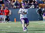 UAlbany Men's Lacrosse defeats Stony Brook on March 31 at Casey Stadium.  Jack Burgmaster (#23).
