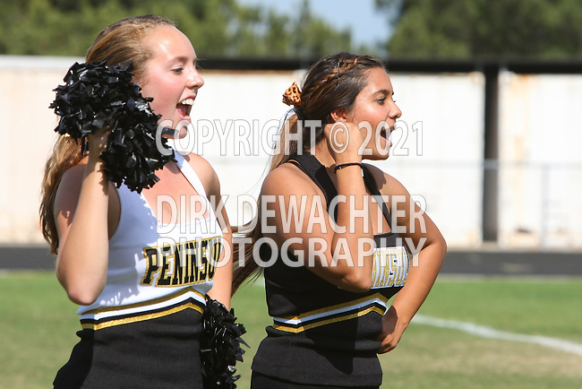 Palos Verdes, CA 09/22/11 - Song & cheer in action during the Beverly Hills vs Peninsula Junior Varsity football game.
