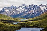 Aerial view of lakes and mountains, Alaska