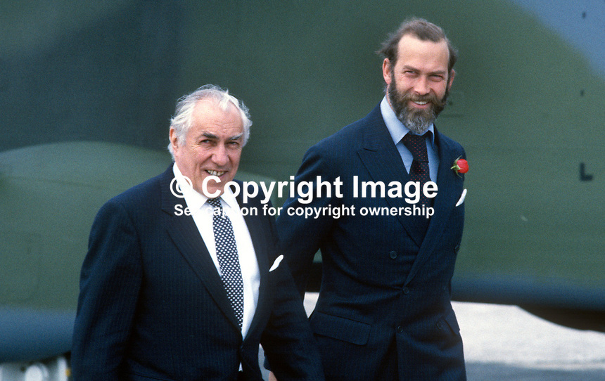 Prince Michael of Kent (with beard) on a visit to aircraft manufacturer, Short Brothers Ltd, Belfast, N Ireland, with the company's managing director, Sir Philip Foreman. Prince Michael is a pilot qualified to fly both fixed wing aircraft and helicopters. 19850613MK2.<br />