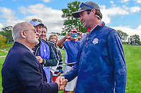 Bubba Watson (USA) stops to visit with an old friend during the practice round at the Ryder Cup, Hazeltine National Golf Club, Chaska, Minnesota, USA.  9/29/2016<br /> Picture: Golffile | Ken Murray<br /> <br /> <br /> All photo usage must carry mandatory copyright credit (&copy; Golffile | Ken Murray)