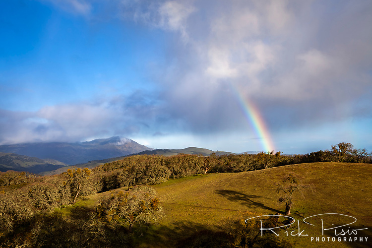 A rainbow appears over Morgan Territory Regional Preserve in Northern California's Eastern Contra Costa County.