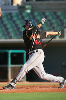 August 24 2008: Angel Cabrera of the Modesto Nuts bats against the Lancaster JetHawks at Clear Channel Stadium in Lancaster,CA.  Photo by Larry Goren/Four Seam Images