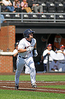Buies Creek Astros infielder Ryne Birk (4) at bat during a game against the Winston-Salem Dash at Jim Perry Stadium on the campus of Campbell University on April 9, 2017 in Buies Creek, North Carolina. Buies Creek defeated Winston-Salem 2-0. (Robert Gurganus/Four Seam Images)